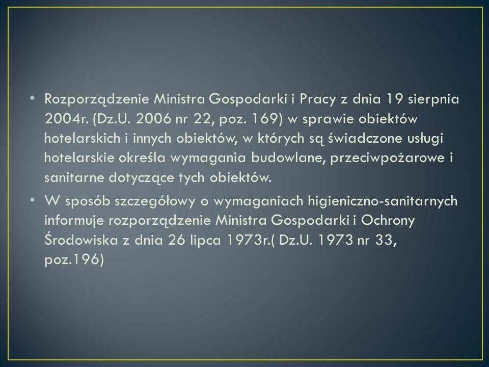 Rozporządzenie Ministra Gospodarki i Pracy z dnia 19 sierpnia 2004r. (Dz.U. 2006 nr 22, poz. 169) w sprawie obiektów hotelarskich i innych obiektów, w