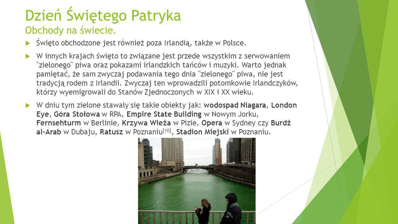 Dzień Świętego Patryka Obchody na świecie. Święto obchodzone jest również poza Irlandią, także w Polsce. W innych krajach święto to związane jest prze
