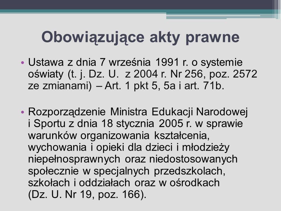 Obowiązujące akty prawne Ustawa z dnia 7 września 1991 r. o systemie oświaty (t. j. Dz. U. z 2004 r. Nr 256, poz. 2572 ze zmianami) – Art. 1 pkt 5, 5a
