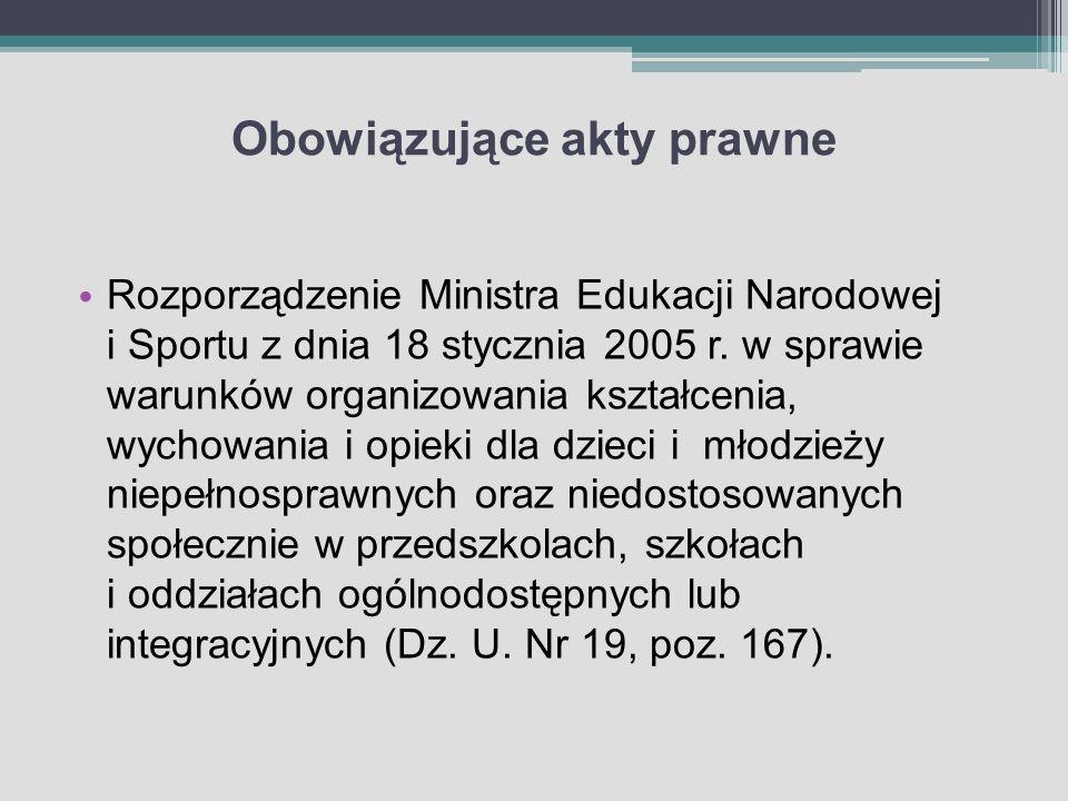 Obowiązujące akty prawne Rozporządzenie Ministra Edukacji Narodowej i Sportu z dnia 18 stycznia 2005 r. w sprawie warunków organizowania kształcenia,