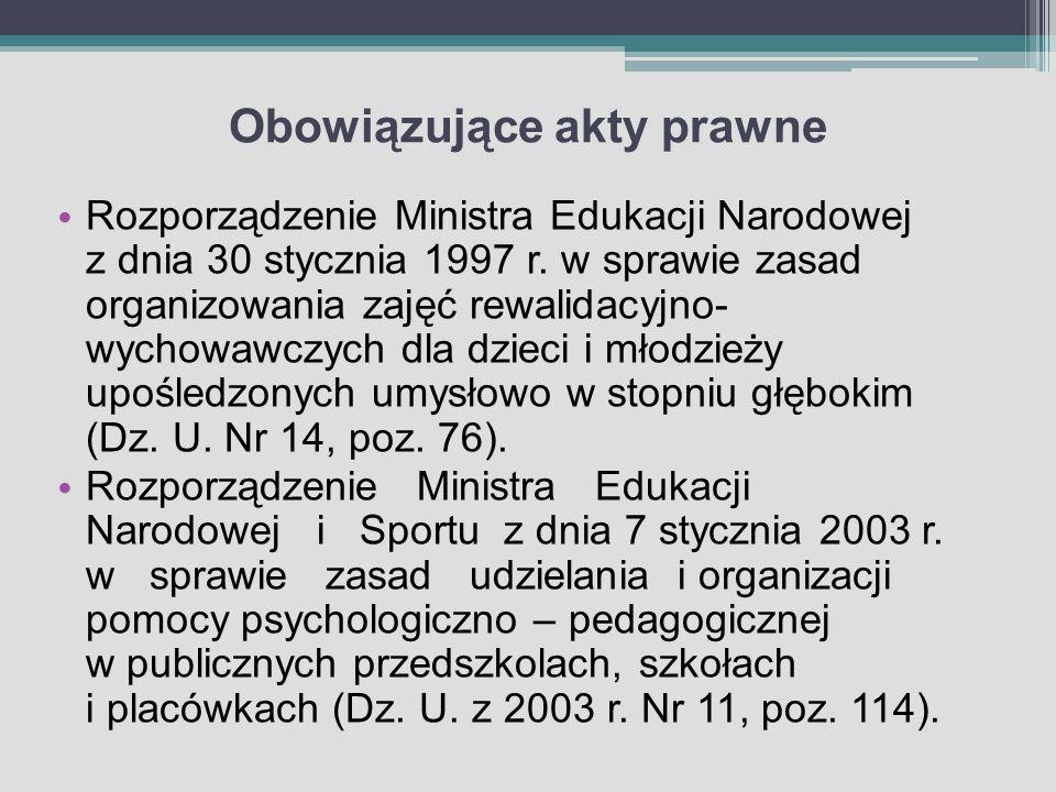 Obowiązujące akty prawne Rozporządzenie Ministra Edukacji Narodowej z dnia 30 stycznia 1997 r. w sprawie zasad organizowania zajęć rewalidacyjno- wych
