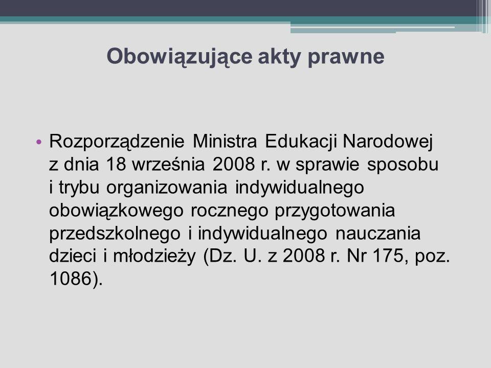 Obowiązujące akty prawne Rozporządzenie Ministra Edukacji Narodowej z dnia 18 września 2008 r. w sprawie sposobu i trybu organizowania indywidualnego