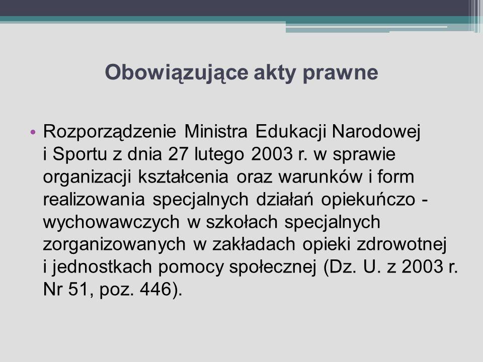 Obowiązujące akty prawne Rozporządzenie Ministra Edukacji Narodowej i Sportu z dnia 27 lutego 2003 r. w sprawie organizacji kształcenia oraz warunków