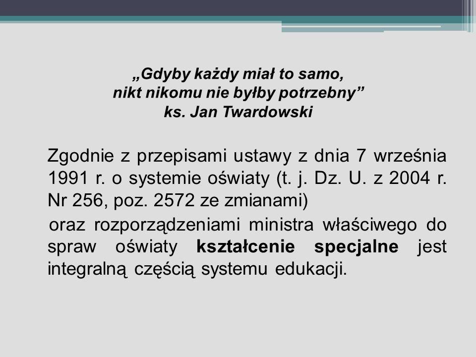 Gdyby każdy miał to samo, nikt nikomu nie byłby potrzebny ks. Jan Twardowski Zgodnie z przepisami ustawy z dnia 7 września 1991 r. o systemie oświaty