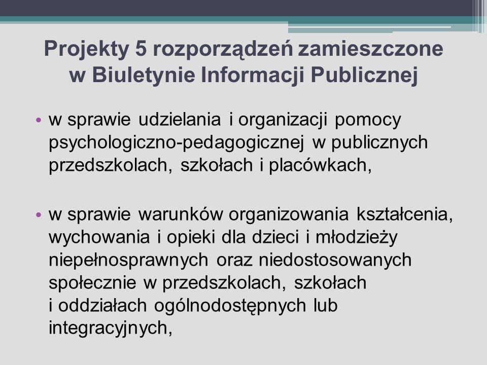 Projekty 5 rozporządzeń zamieszczone w Biuletynie Informacji Publicznej w sprawie udzielania i organizacji pomocy psychologiczno-pedagogicznej w publi