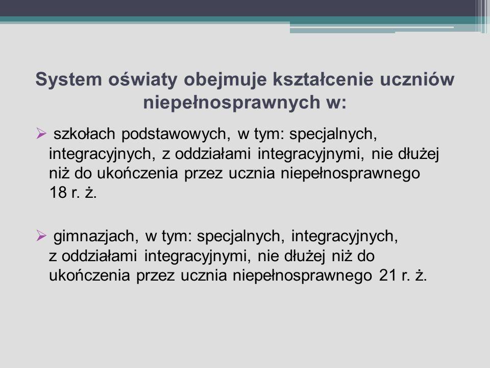 System oświaty obejmuje kształcenie uczniów niepełnosprawnych w: szkołach podstawowych, w tym: specjalnych, integracyjnych, z oddziałami integracyjnym
