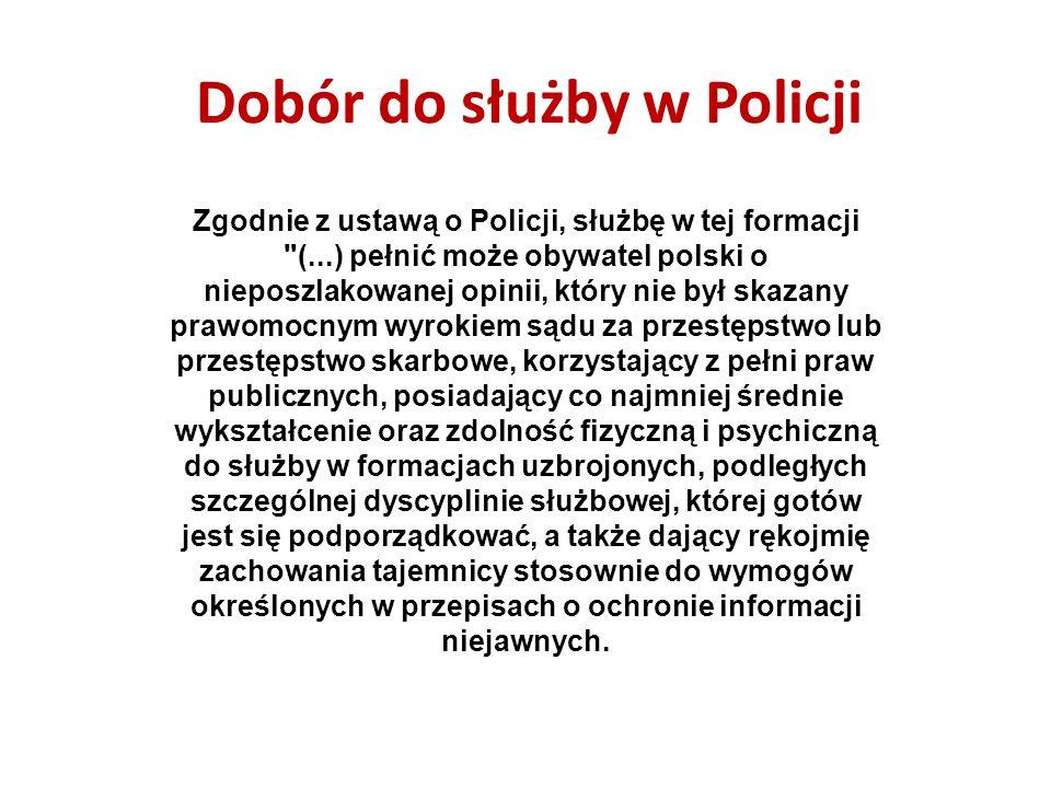 Dobór do służby w Policji Podsumowując powyższe, kandydat do służby powinien posiadać: posiadać co najmniej średnie wykształcenie, posiadać polskie obywatelstwo, posiadać nieposzlakowaną opinię, być nie skazanym prawomocnym wyrokiem sądu za przestępstwo lub przestępstwo skarbowe, korzystać z pełni praw publicznych, posiadać zdolność fizyczną i psychiczną do służby w formacjach uzbrojonych, podległych szczególnej dyscyplinie służbowej, której gotów jest się podporządkować, dawać rękojmię zachowania tajemnicy stosownie do wymogów określonych w przepisach o ochronie informacji niejawnych, osoby podlegające kwalifikacji wojskowej powinny posiadać uregulowany stosunek do służby wojskowej.