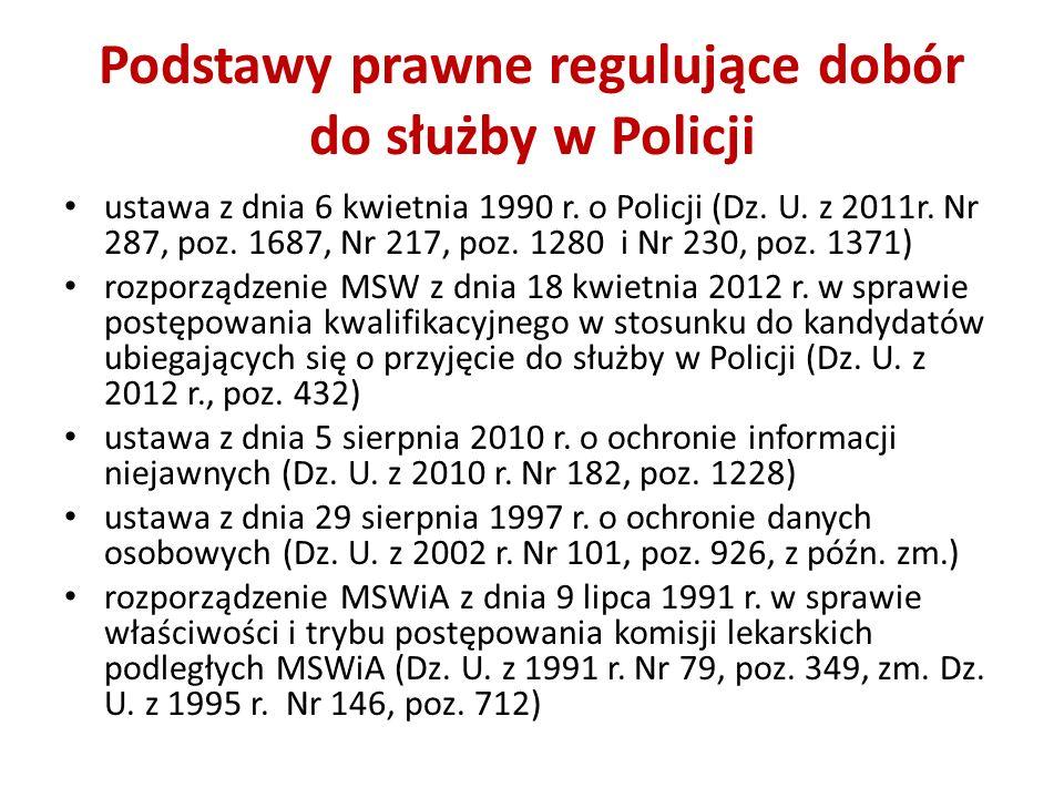 Podstawy prawne regulujące dobór do służby w Policji ustawa z dnia 6 kwietnia 1990 r. o Policji (Dz. U. z 2011r. Nr 287, poz. 1687, Nr 217, poz. 1280