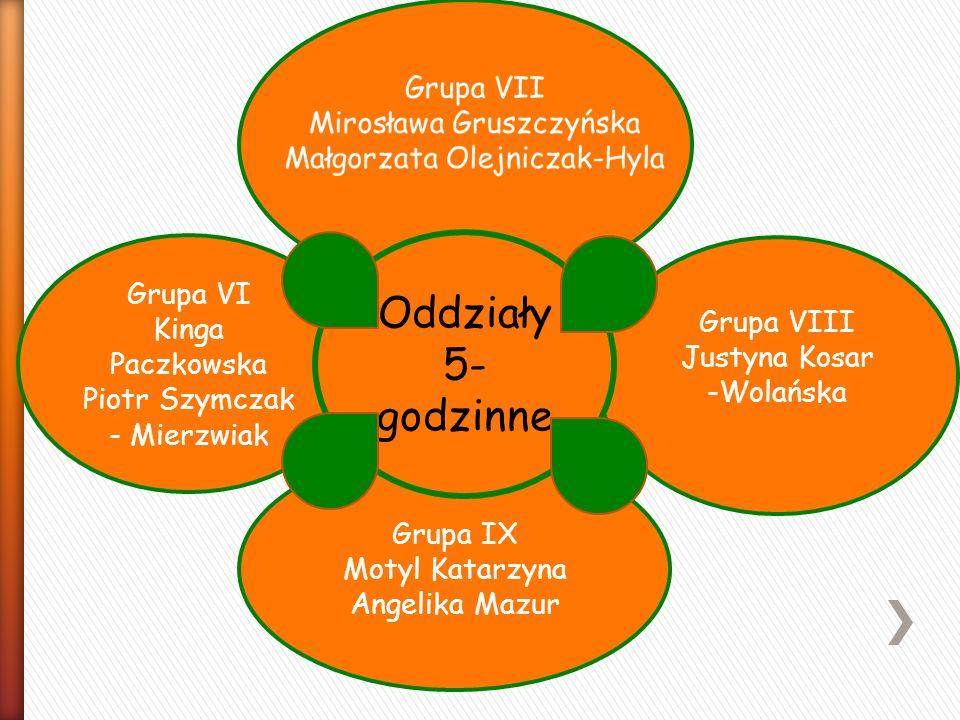 Grupa VI Kinga Paczkowska Piotr Szymczak - Mierzwiak Grupa IX Motyl Katarzyna Angelika Mazur Oddziały 5- godzinne Grupa VIII Justyna Kosar -Wolańska