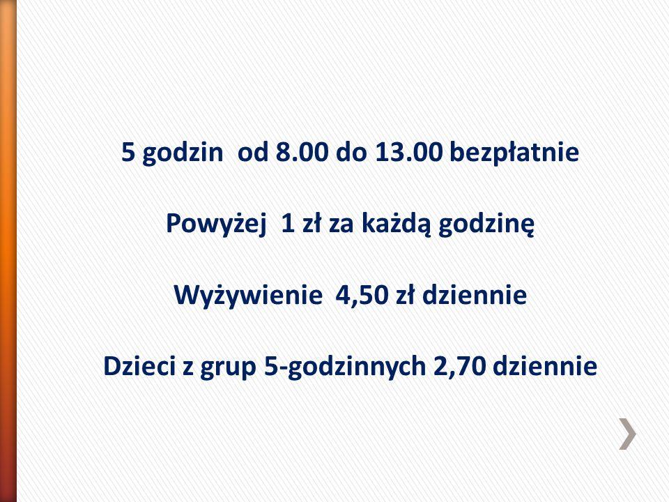 5 godzin od 8.00 do 13.00 bezpłatnie Powyżej 1 zł za każdą godzinę Wyżywienie 4,50 zł dziennie Dzieci z grup 5-godzinnych 2,70 dziennie