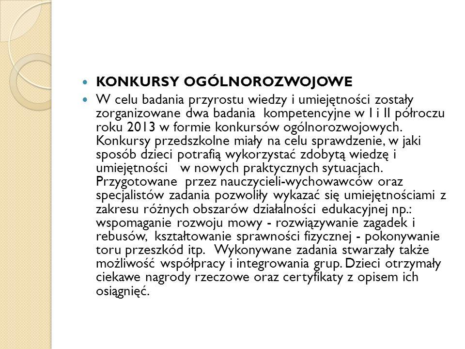 KONKURSY OGÓLNOROZWOJOWE W celu badania przyrostu wiedzy i umiejętności zostały zorganizowane dwa badania kompetencyjne w I i II półroczu roku 2013 w