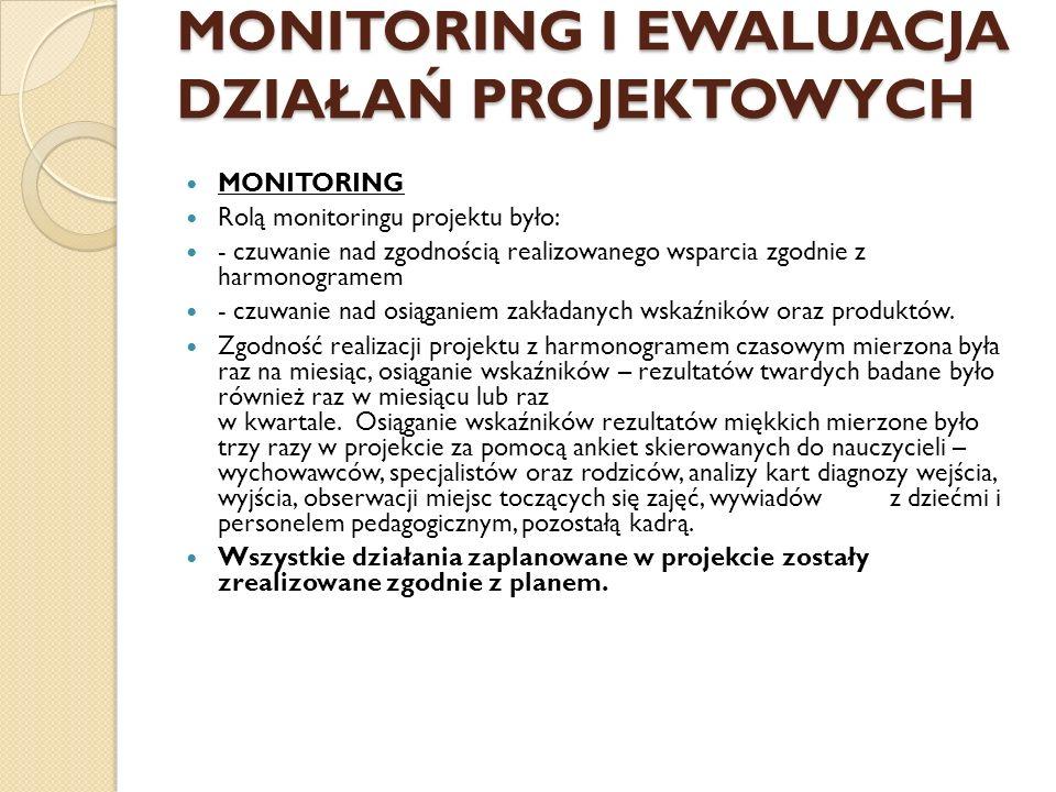 MONITORING I EWALUACJA DZIAŁAŃ PROJEKTOWYCH MONITORING Rolą monitoringu projektu było: - czuwanie nad zgodnością realizowanego wsparcia zgodnie z harm