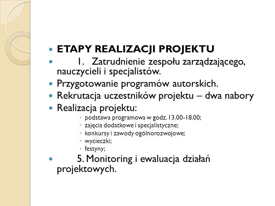 ETAPY REALIZACJI PROJEKTU 1. Zatrudnienie zespołu zarządzającego, nauczycieli i specjalistów. Przygotowanie programów autorskich. Rekrutacja uczestnik