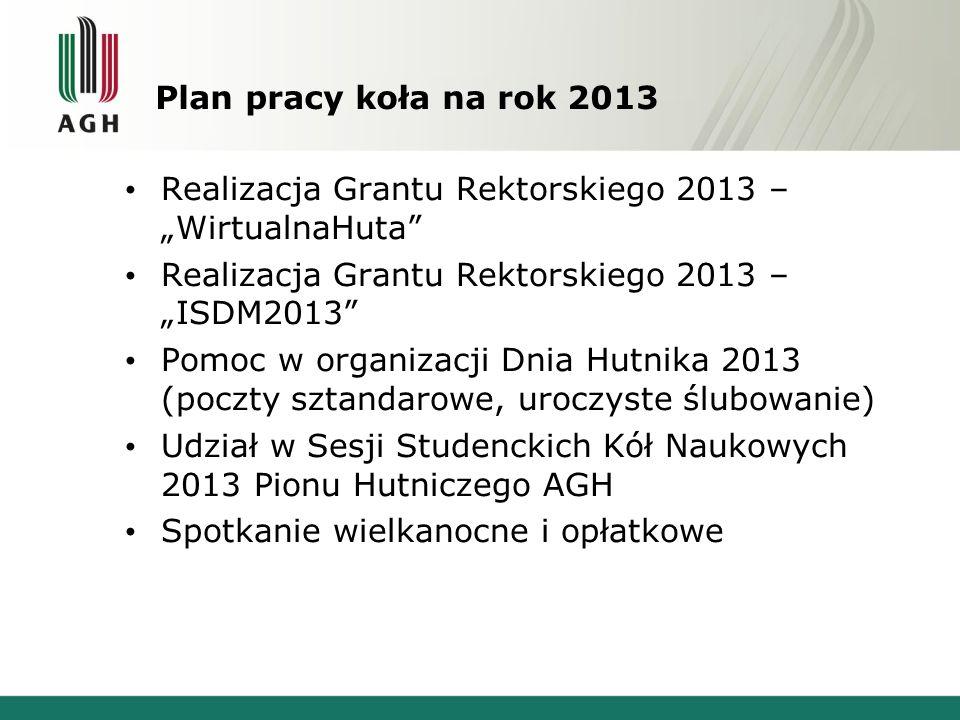 Plan pracy koła na rok 2013 Realizacja Grantu Rektorskiego 2013 – WirtualnaHuta Realizacja Grantu Rektorskiego 2013 – ISDM2013 Pomoc w organizacji Dni