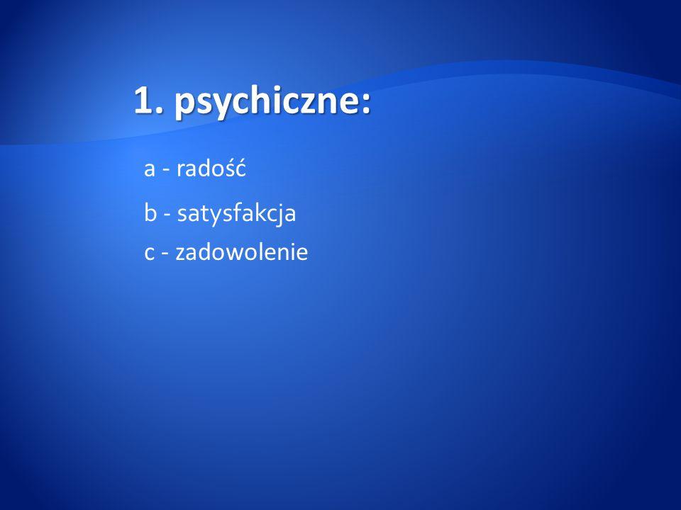 1. psychiczne: a - radość b - satysfakcja c - zadowolenie