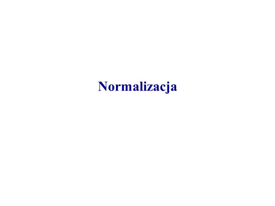 Pierwsza postać normalna Jedynymi relacjami dozwolonymi w modelu relacyjnym są relacje spełniające następujący warunek: każda wartość w relacji, tj.