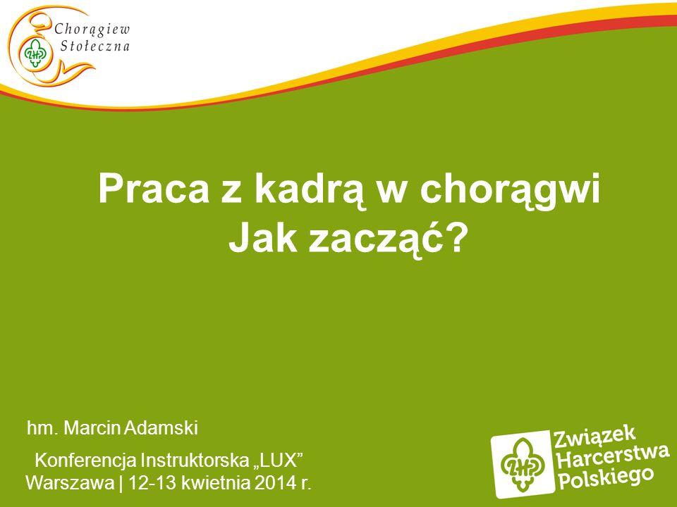 Praca z kadrą w chorągwi Jak zacząć? hm. Marcin Adamski Konferencja Instruktorska LUX Warszawa | 12-13 kwietnia 2014 r.