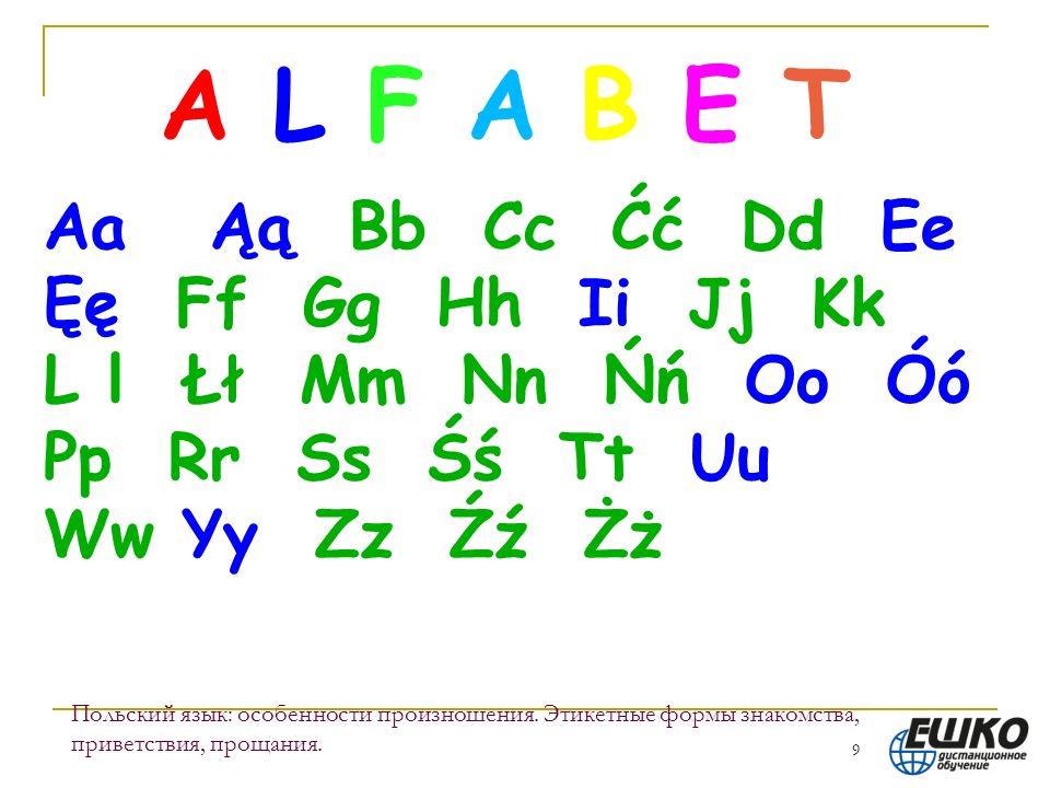 9 Польский язык: особенности произношения. Этикетные формы знакомства, приветствия, прощания. A L F A B E T Aa Ąą Bb Cc Ćć Dd Ee Ęę Ff Gg Hh Ii Jj Kk