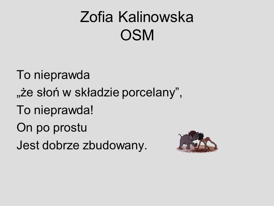 Zofia Kalinowska OSM To nieprawda że słoń w składzie porcelany, To nieprawda! On po prostu Jest dobrze zbudowany.