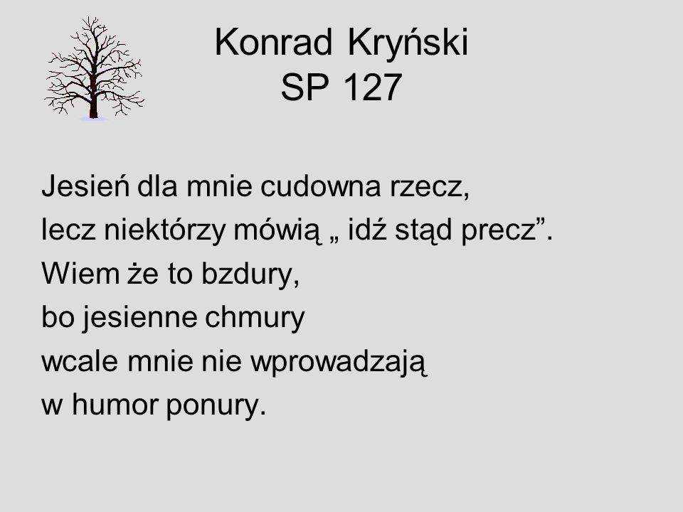 Konrad Kryński SP 127 Jesień dla mnie cudowna rzecz, lecz niektórzy mówią idź stąd precz. Wiem że to bzdury, bo jesienne chmury wcale mnie nie wprowad