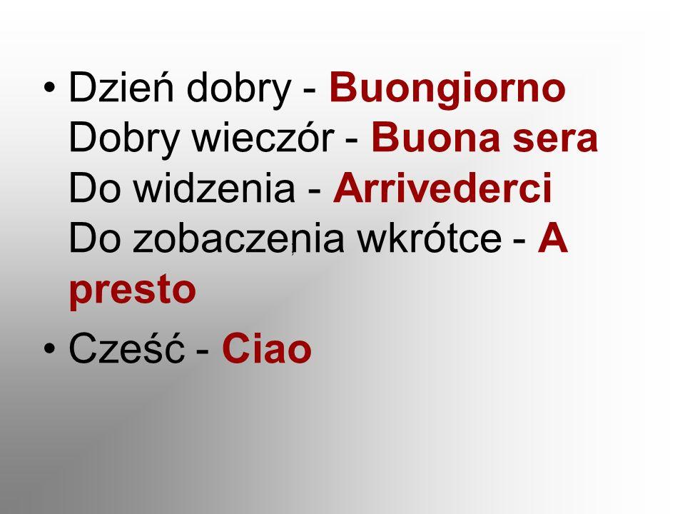 Nazywam się - Mi chiamo...Jestem z Polski - Vengo dalla Polonia Tak - Sì Nie - No Proszę.