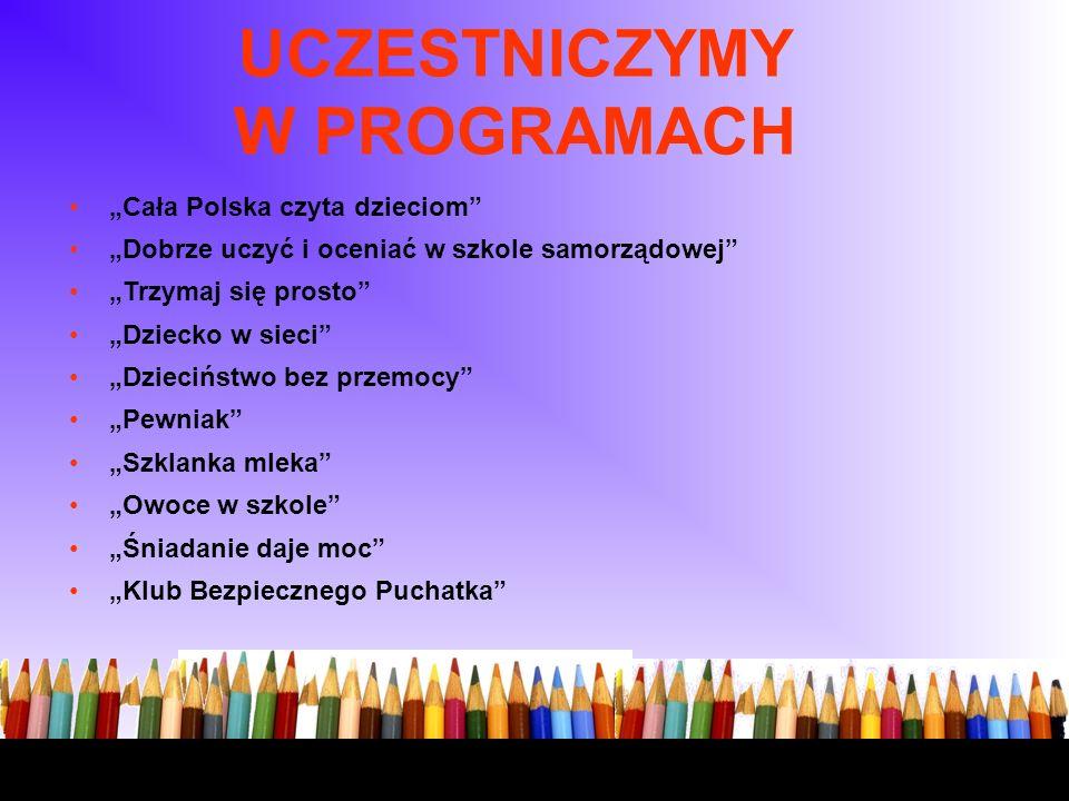 UCZESTNICZYMY W PROGRAMACH Cała Polska czyta dzieciom Dobrze uczyć i oceniać w szkole samorządowej Trzymaj się prosto Dziecko w sieci Dzieciństwo bez