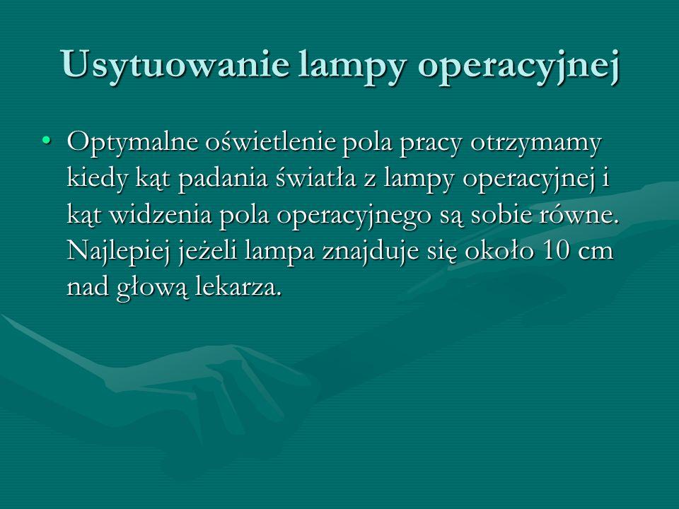 Usytuowanie lampy operacyjnej Optymalne oświetlenie pola pracy otrzymamy kiedy kąt padania światła z lampy operacyjnej i kąt widzenia pola operacyjneg