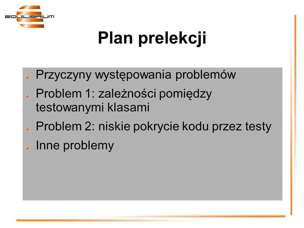 Przyczyny występowania problemów Problem 1: zależności pomiędzy testowanymi klasami Problem 2: niskie pokrycie kodu przez testy Inne problemy Plan pre