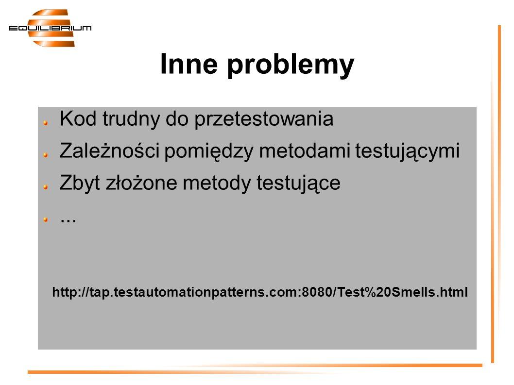 Kod trudny do przetestowania Zależności pomiędzy metodami testującymi Zbyt złożone metody testujące... http://tap.testautomationpatterns.com:8080/Test