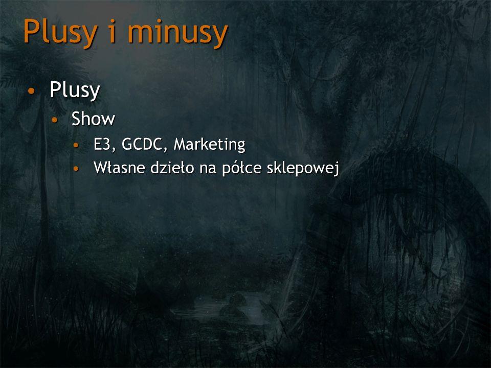 Plusy i minusy PlusyPlusy ShowShow E3, GCDC, MarketingE3, GCDC, Marketing Własne dzieło na półce sklepowejWłasne dzieło na półce sklepowej