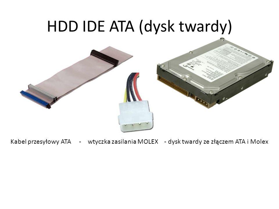 HDD IDE ATA (dysk twardy) Kabel przesyłowy ATA - wtyczka zasilania MOLEX - dysk twardy ze złączem ATA i Molex