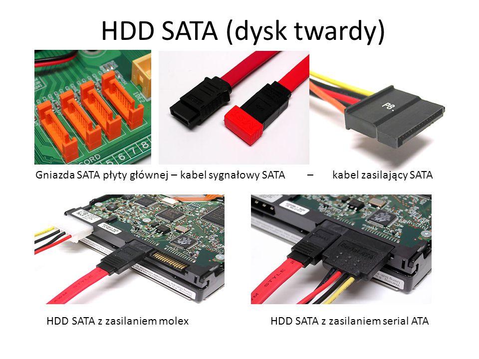 HDD SATA (dysk twardy) Gniazda SATA płyty głównej – kabel sygnałowy SATA – kabel zasilający SATA HDD SATA z zasilaniem molex HDD SATA z zasilaniem ser