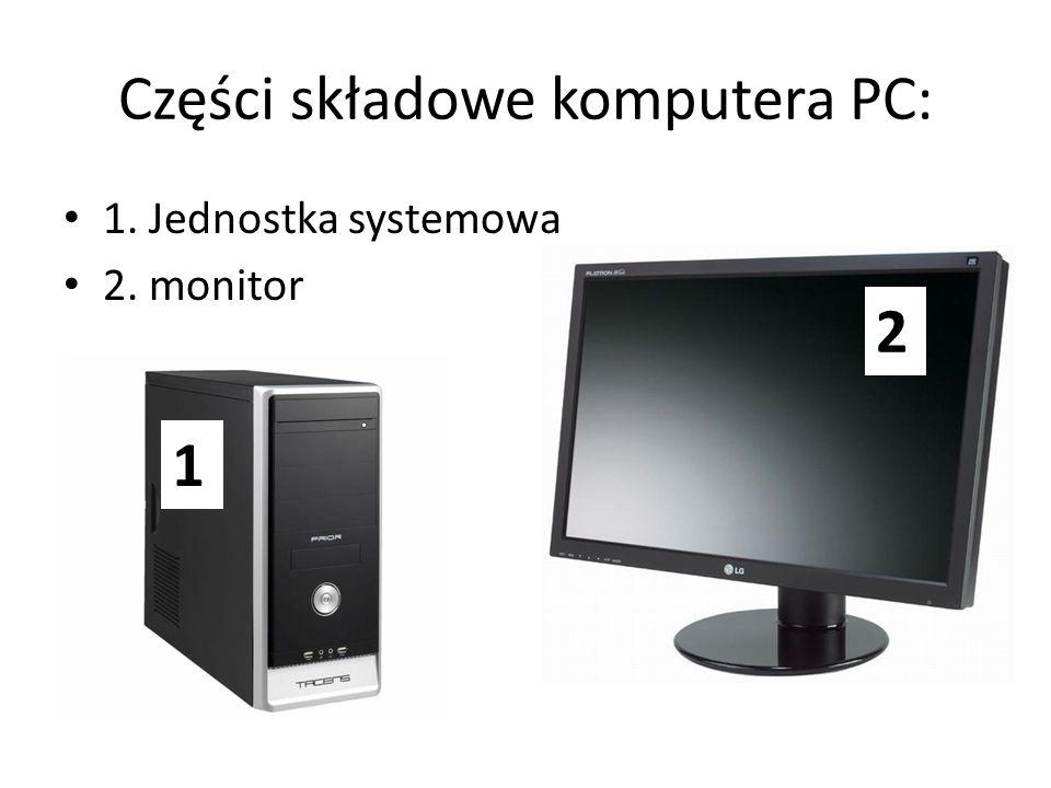 Części składowe komputera PC: 1. Jednostka systemowa 2. monitor 2 1
