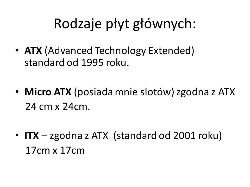 Rodzaje płyt głównych: ATX (Advanced Technology Extended) standard od 1995 roku. Micro ATX (posiada mnie slotów) zgodna z ATX 24 cm x 24cm. ITX – zgod