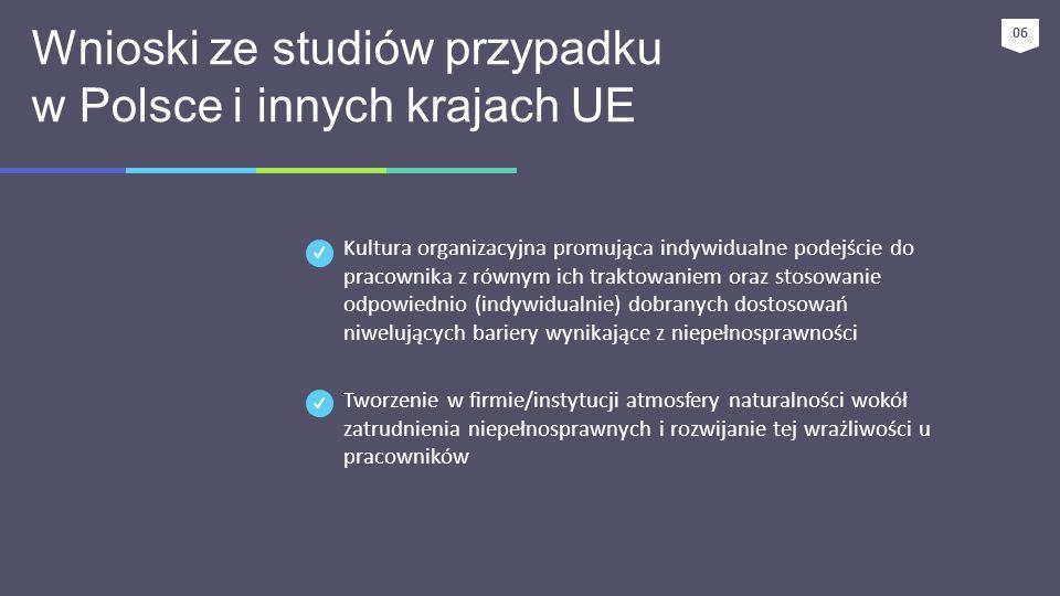 Wnioski ze studiów przypadku w Polsce i innych krajach UE Kultura organizacyjna promująca indywidualne podejście do pracownika z równym ich traktowani
