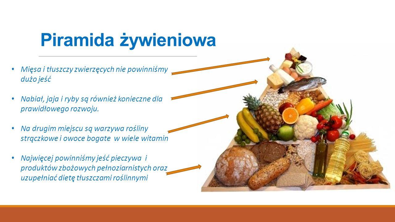 Piramida żywieniowa Mięsa i tłuszczy zwierzęcych nie powinniśmy dużo jeść Nabiał, jaja i ryby są również konieczne dla prawidłowego rozwoju. Na drugim