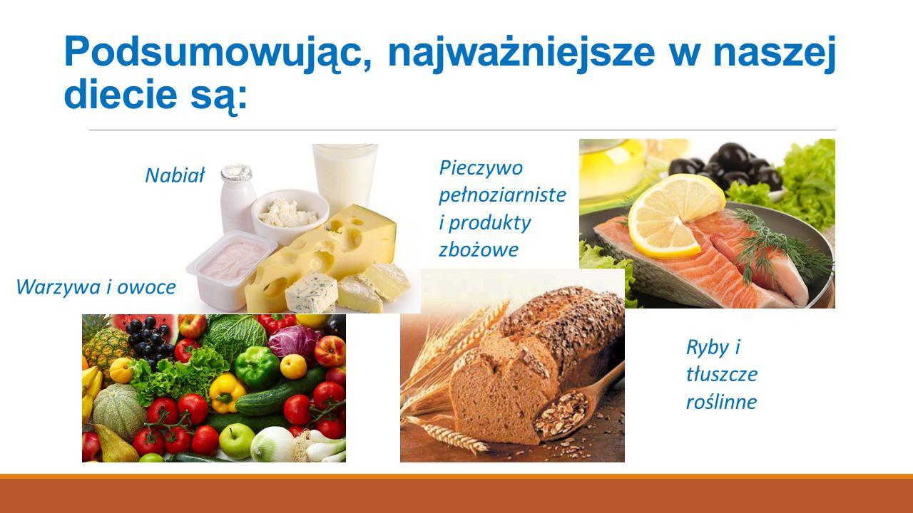 Podsumowując, najważniejsze w naszej diecie są: Nabiał Warzywa i owoce Pieczywo pełnoziarniste i produkty zbożowe Ryby i tłuszcze roślinne