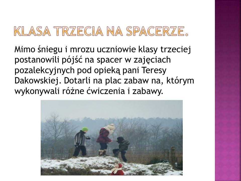 Mimo śniegu i mrozu uczniowie klasy trzeciej postanowili pójść na spacer w zajęciach pozalekcyjnych pod opieką pani Teresy Dakowskiej. Dotarli na plac