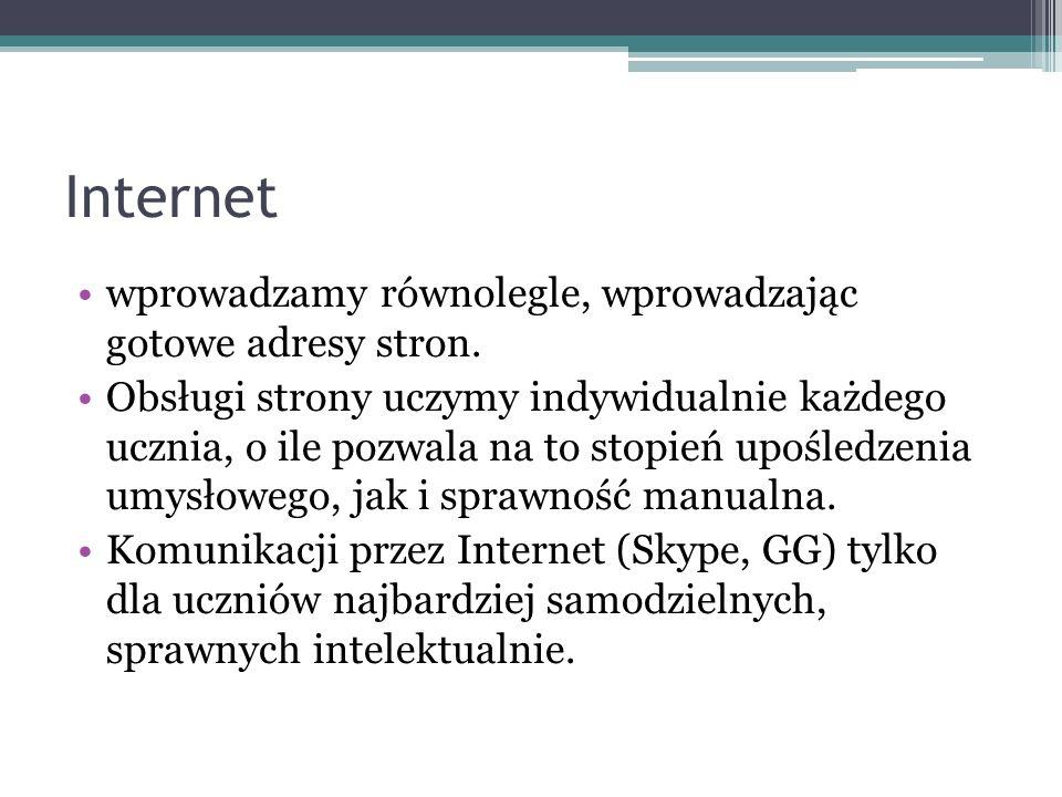 Internet wprowadzamy równolegle, wprowadzając gotowe adresy stron. Obsługi strony uczymy indywidualnie każdego ucznia, o ile pozwala na to stopień upo
