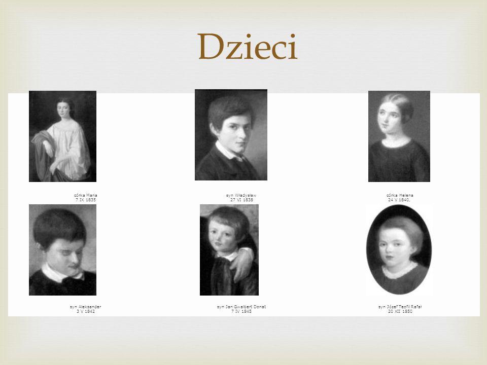 córka Maria 7 IX 1835 syn Władysław 27 VI 1838 córka Helena 24 V 1840, syn Aleksander 3 V 1842 syn Jan Gwalbert Donat 7 IV 1845 syn Józef Teofil Rafał