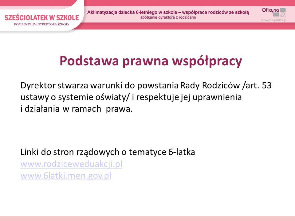 Podstawa prawna współpracy Dyrektor stwarza warunki do powstania Rady Rodziców /art. 53 ustawy o systemie oświaty/ i respektuje jej uprawnienia i dzia