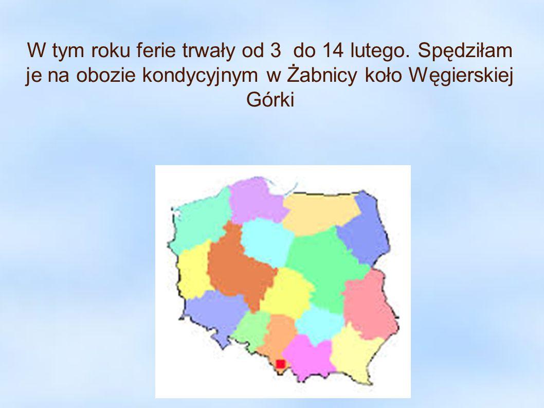W tym roku ferie trwały od 3 do 14 lutego. Spędziłam je na obozie kondycyjnym w Żabnicy koło Węgierskiej Górki