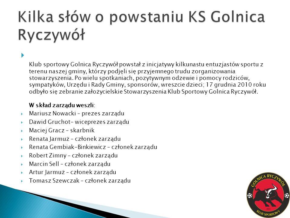 Klub sportowy Golnica Ryczywół powstał z inicjatywy kilkunastu entuzjastów sportu z terenu naszej gminy, którzy podjęli się przyjemnego trudu zorganizowania stowarzyszenia.