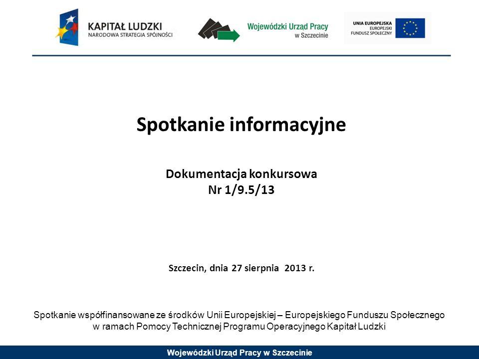 Wojewódzki Urząd Pracy w Szczecinie Spotkanie informacyjne Dokumentacja konkursowa Nr 1/9.5/13 Szczecin, dnia 27 sierpnia 2013 r.