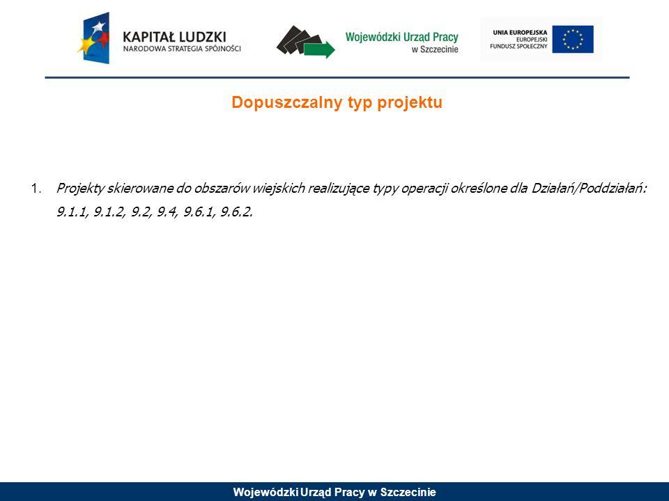 Wojewódzki Urząd Pracy w Szczecinie Dopuszczalny typ projektu 1.