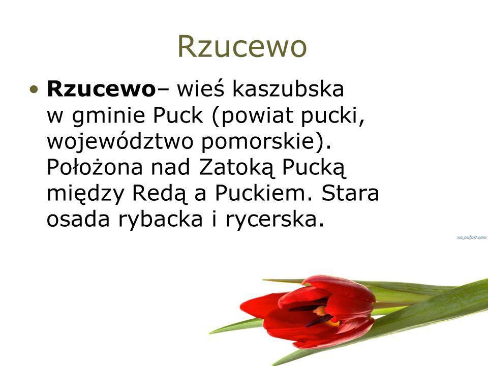Rzucewo Rzucewo– wieś kaszubska w gminie Puck (powiat pucki, województwo pomorskie). Położona nad Zatoką Pucką między Redą a Puckiem. Stara osada ryba