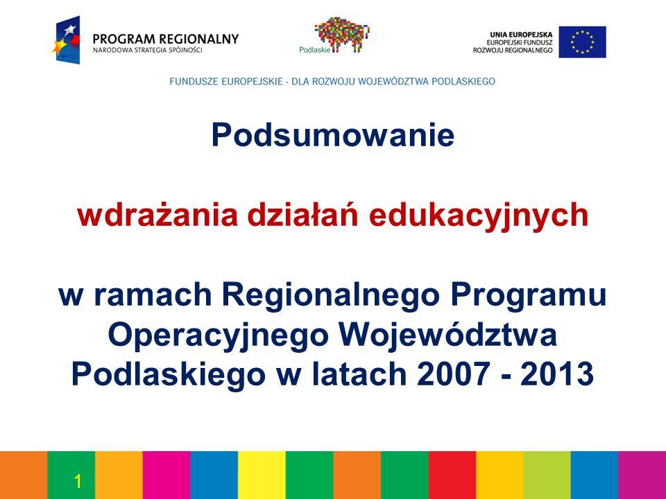 1 Podsumowanie wdrażania działań edukacyjnych w ramach Regionalnego Programu Operacyjnego Województwa Podlaskiego w latach 2007 - 2013