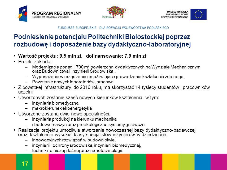 17 Podniesienie potencjału Politechniki Białostockiej poprzez rozbudowę i doposażenie bazy dydaktyczno-laboratoryjnej Wartość projektu: 9,5 mln zł, do