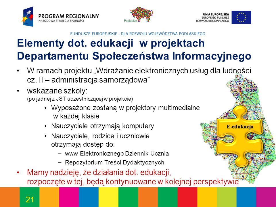 21 Elementy dot. edukacji w projektach Departamentu Społeczeństwa Informacyjnego W ramach projektu Wdrażanie elektronicznych usług dla ludności cz. II