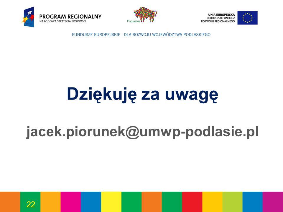 22 Dziękuję za uwagę jacek.piorunek@umwp-podlasie.pl